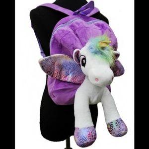 Plush Unicorn Backpack Purple